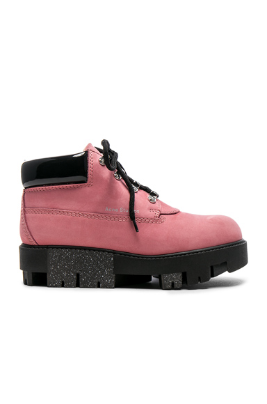 Acne Studios Tinne Leather Boots in Pink