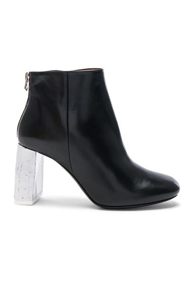 Acne Studios Leather Claudine Booties in Black