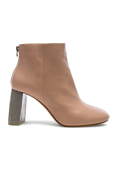 Acne Studios Leather Claudine Booties in Pink
