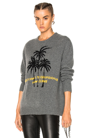 Adaptation California Palm Cashmere Sweater in Gray