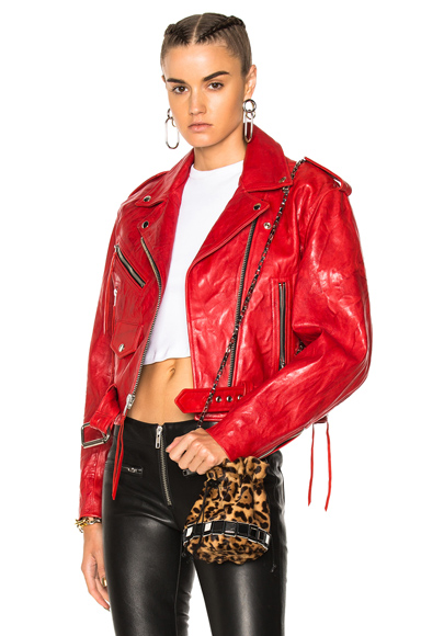 Adaptation Cropped Leather Moto Jacket in Red