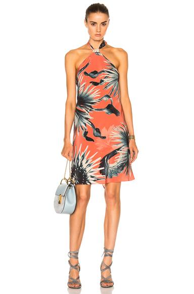 ADRIANA DEGREAS Maxi Flower Halter Dress in Pink, Floral, Orange