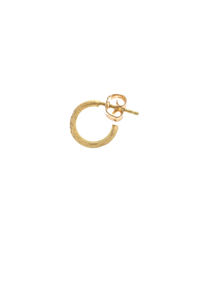 Afin Atelier Small Single Hoop Earring With Diamonds in Metallics.