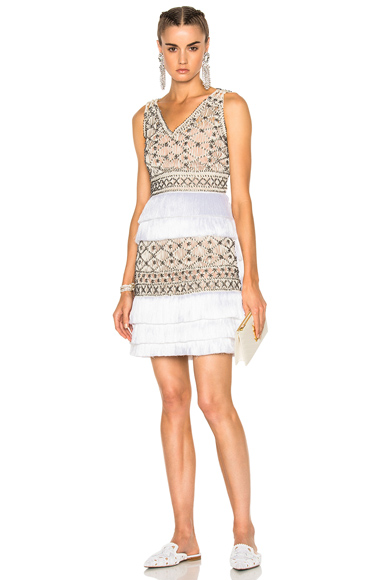 ALBERTA FERRETTI Crochet Embellished Sleeveless Mini Dress in Metallics, Neutrals, White