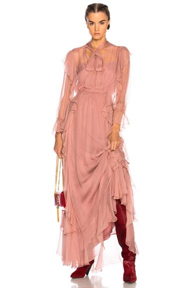 Photo of ALBERTA FERRETTI Ruffle Gown in Pink online womens dresses sales