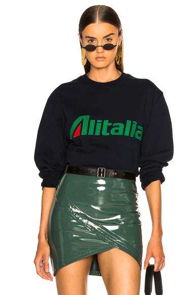 ALBERTA FERRETTI | ALBERTA FERRETTI X Alitalia For FWRD Logo Sweatshirt In Blue. - Size M (Also In ) | Goxip