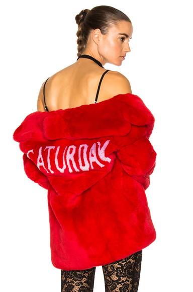 ALBERTA FERRETTI Saturday Rabbit Fur Coat in Red
