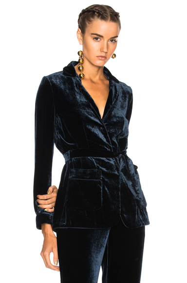 ALBERTA FERRETTI Velvet Wrap Jacket in Blue