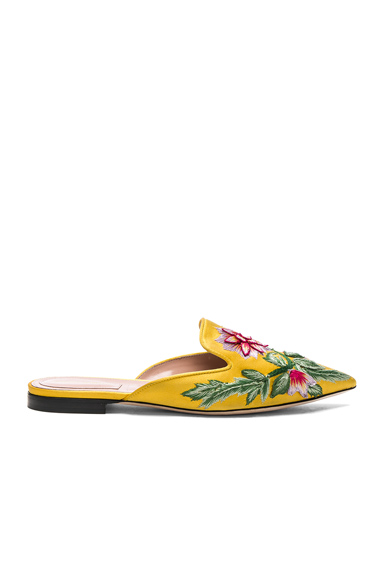 ALBERTA FERRETTI Embroidered Mules in Yellow, Floral