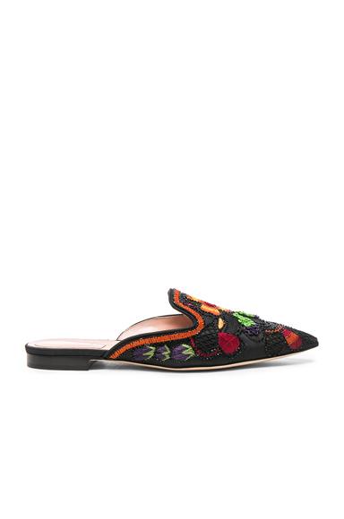 ALBERTA FERRETTI Beaded Shantung Mules in Black