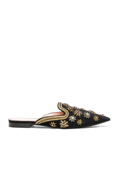 ALBERTA FERRETTI Satin Embellished Mules in Black, Metallics