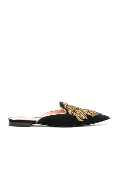 ALBERTA FERRETTI Satin Lion Embroidered Mules in Black, Metallics