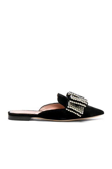 Photo of ALBERTA FERRETTI Embellished Velvet Mules in Black online womens shoes sales