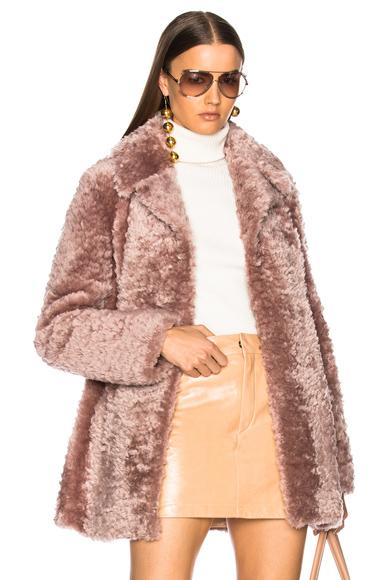ALC Lamb Shearling Stone Coat in Pink