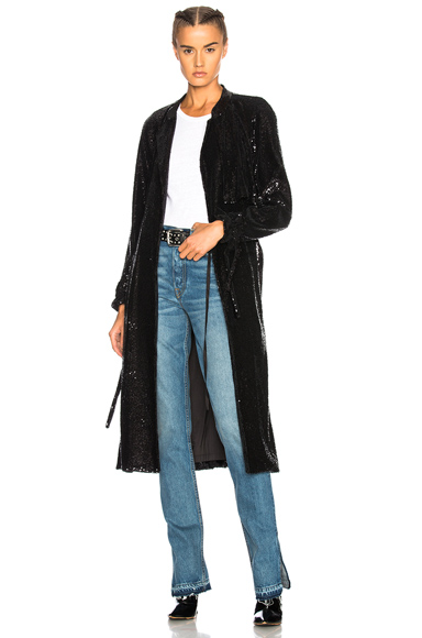 ALC Sequin Holloway Coat in Black, Metallics