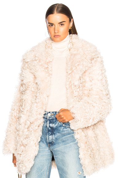 Photo of ALC Stone Fur Coat in Neutrals online womens jacket sales