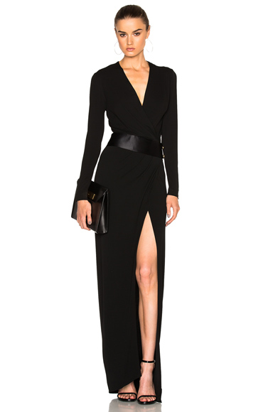 Alexandre Vauthier High Slit Maxi Dress in Black