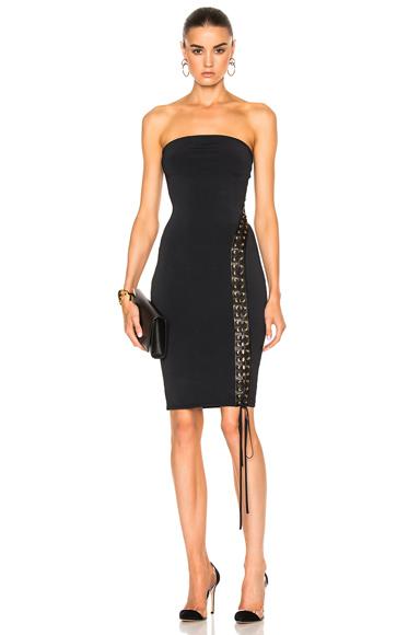 Alexandre Vauthier Lace Up Detail Knit Dress in Black