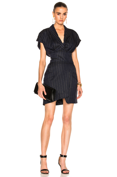 Alexandre Vauthier Pinstripe Dress in Blue, Metallics, Stripes. - size 34 (also in 36,38,40,42)