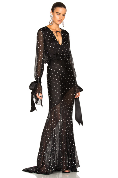 Alexandre Vauthier Embellished Plunging Gown in Black. - size 36 (also in 38)