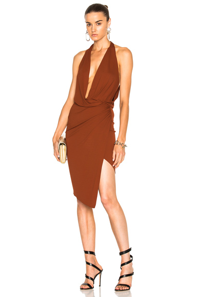 Alexandre Vauthier Stretch Jersey Sleeveless Wrap Dress in Brown