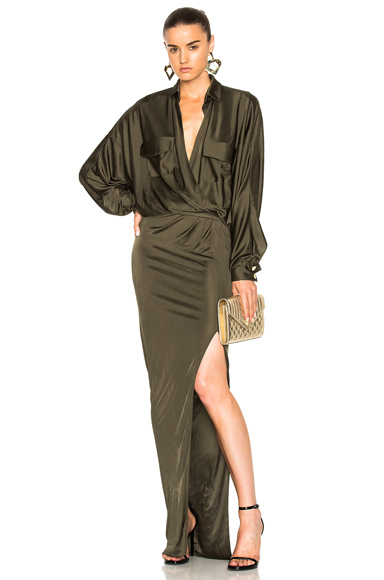 Alexandre Vauthier Shiny Jersey Long Sleeve Maxi Dress in Green. - size 36 (also in )
