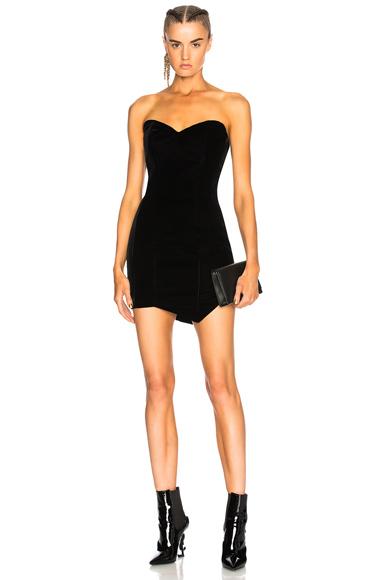 Alexandre Vauthier Tailored Velvet Strapless Mini Dress in Black
