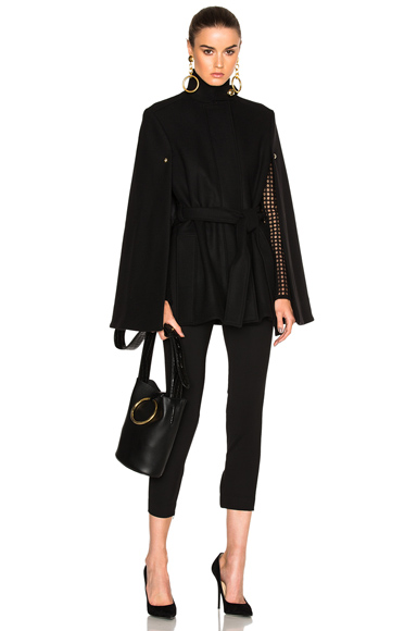 Alexandre Vauthier Belted Cape Coat in Black. - size 40 (also in )