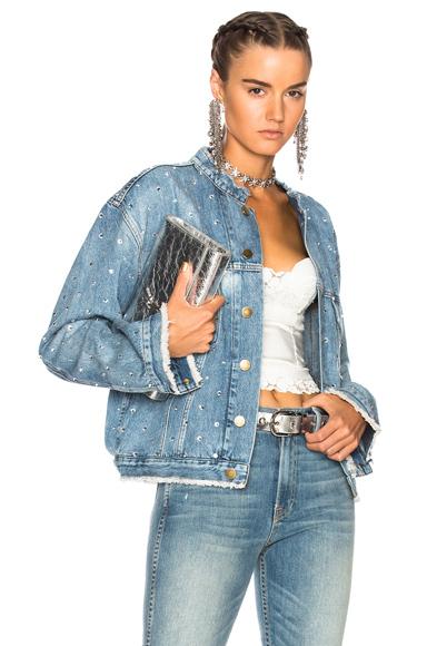 Alexandre Vauthier Crystal Studded Denim Jacket in Blue