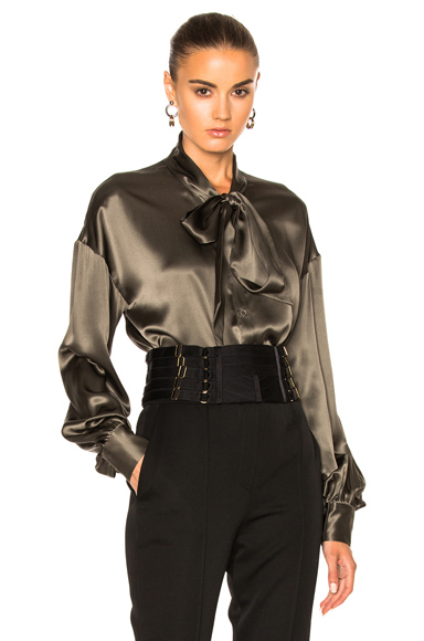 Alexandre Vauthier Satin Blouse in Green. - size 38 (also in )