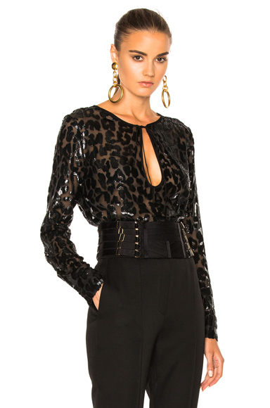 Alexandre Vauthier Lurex Leopard Top in Black, Animal Print. - size 38 (also in 36,40)