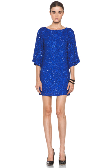ALICE + OLIVIA | Lari Bell Sleeve Sequin Tunic Dress in Cobalt