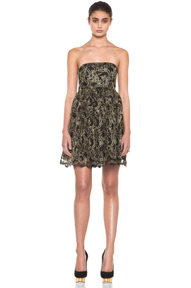 ALICE + OLIVIA | Caryn Bustier Flare Dress in Black & Gold