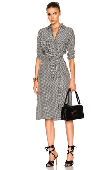 Altuzarra Yuma Dress in Black, Checkered & Plaid, White