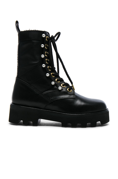 Altuzarra Leather Cosmo Ankle Combat Boots in Black