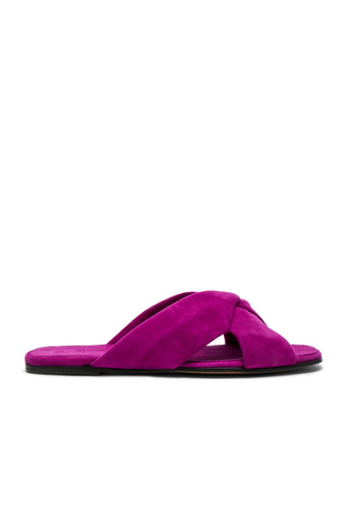 ALUMNAE Soft Suede X Slide Sandals in Purple. - size 36.5 (also in 37,38.5,39)