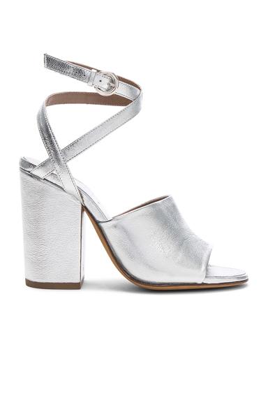 ALUMNAE Asymmetric Ankle Wrap Leather Heels in Metallics
