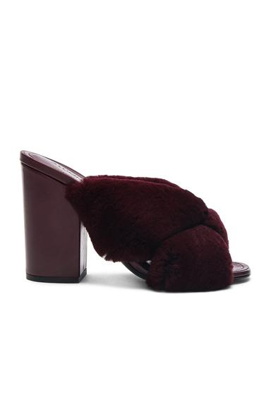 ALUMNAE Rabbit Fur X Slide Block Heels in Red
