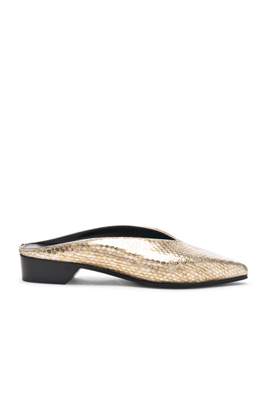 ALUMNAE Python Embossed Pointy Almond Flats in Metallics, Animal Print