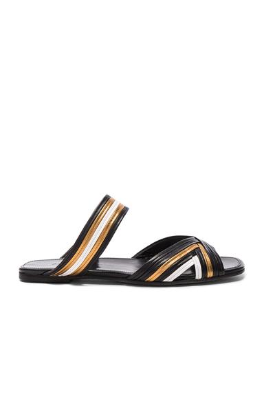 ALUMNAE Stitched Mignon Slide in Black, Stripes, Metallics. - size 37 (also in 39,40)