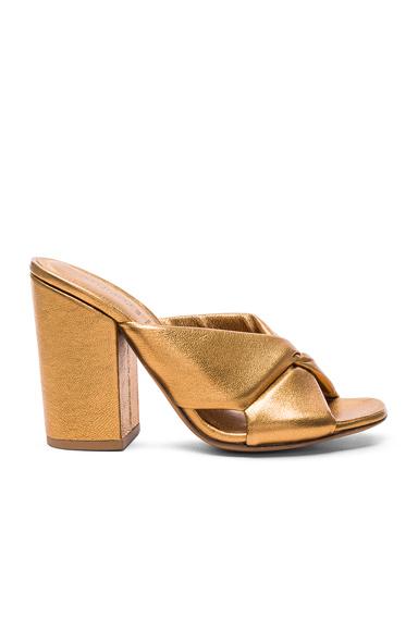 ALUMNAE Soft X-Slide Block Heel Sandal in Metallics. - size 37.5 (also in 39)