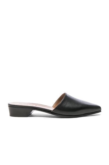 ALUMNAE Pointy Leather Mules in Black