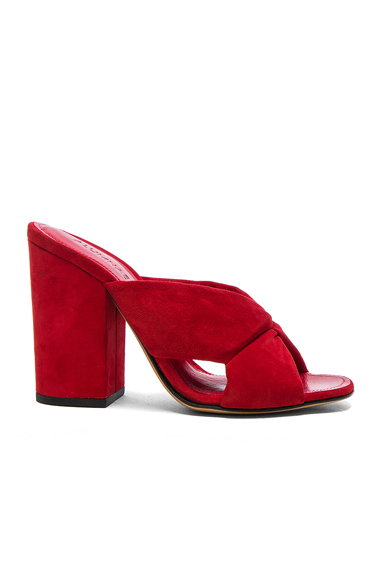 ALUMNAE Soft X-Slide Block Suede Heel Sandals in Red. - size 36 (also in 37,38,38.5)