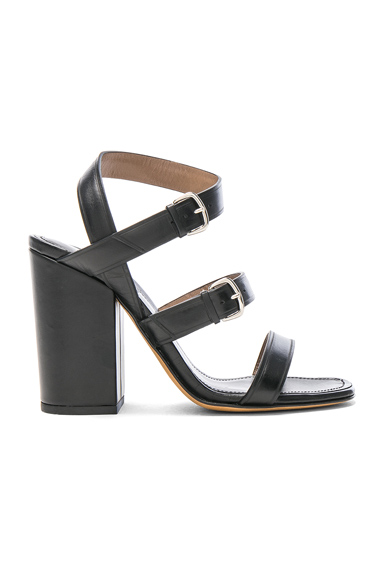 ALUMNAE Three Band Block Heel Leather Sandals in Black. - size 36 (also in 37,38)