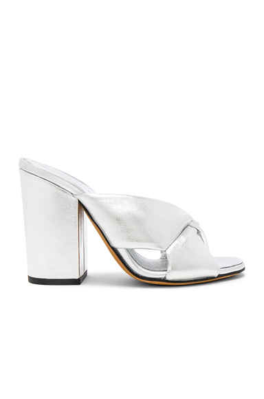 ALUMNAE Leather Soft X Slide Block Heels in Metallics. - size 36 (also in 36.5,37,37.5,38,38.5,40)