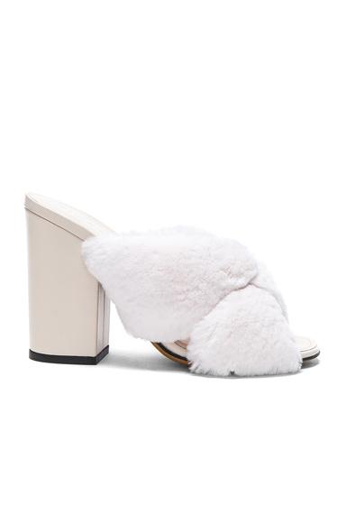 ALUMNAE Soft X Slide Rabbit Fur Block Heels in White