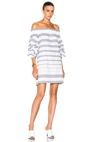 Alexis Olevetti Dress in Gray, White, Stripes