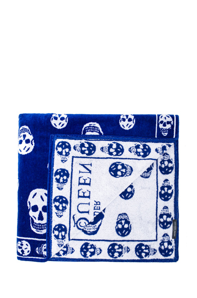 ALEXANDER MCQUEEN | Skull Towel in Royal & White