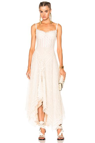 Alexander McQueen Asymmetrical Lace Dress in Neutrals, White