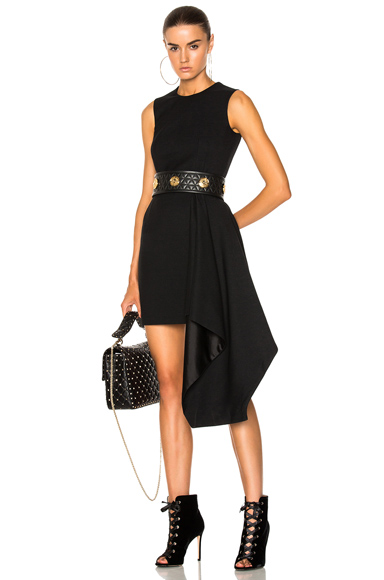 Alexander McQueen Light Wool Silk Drape Sleeveless Mini Dress in Black